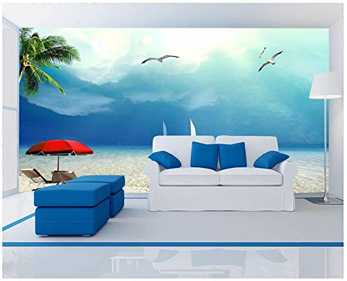 HONGYAUNZHANG Cielo Azul Con Paraguas Rojo Papel Tapiz Fotográfico Personalizado Mural Estereoscópico 3D Dormitorio Del Sofá Fondo Murales De Pared,290Cm (H) X 370Cm (W)