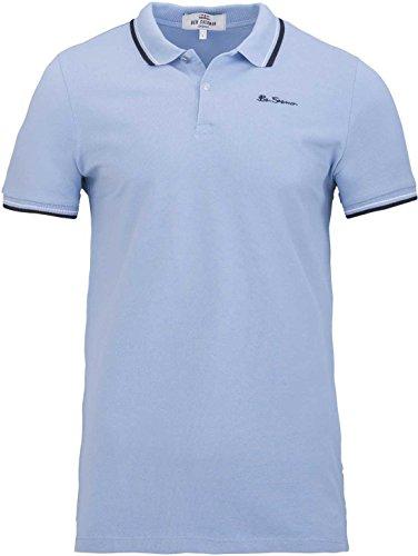 Ben Sherman Herren Shirt T-Shirt Polohemd Poloshirt Logo Shirt, Farbe: Hellblau, Größe: XL