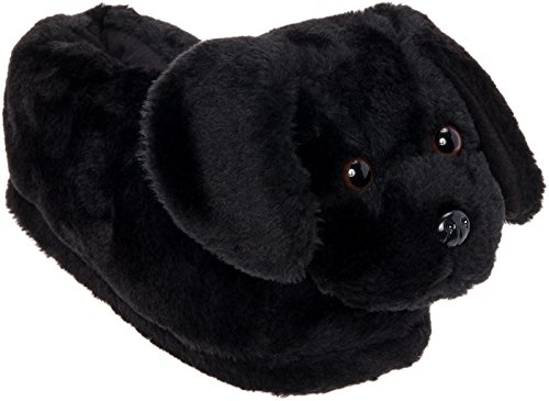 Silver Lilly Black Lab Slippers - Plush Labrador Dog Slippers w/Platform