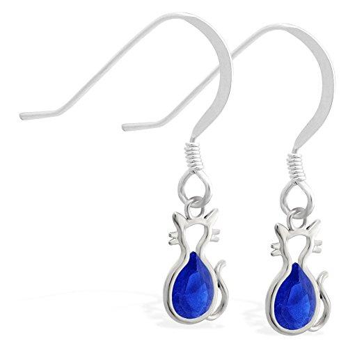 Sterling Silber Ohrringe mit kleinen Dangling Lab Erstellt Saphir Jeweled Katze Charme (Silber-lab Charme)