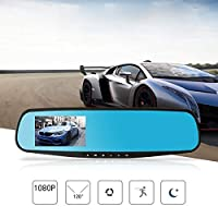 SIRIGOGO 1080P HD Car Dash Camera | Car Front Rear DVR 170° Wide Angle Lens Video Recorder | Touch Screen LCD with Rear+Front Dual Lens for Vehicles Front & Rearview Mirror Night Vision