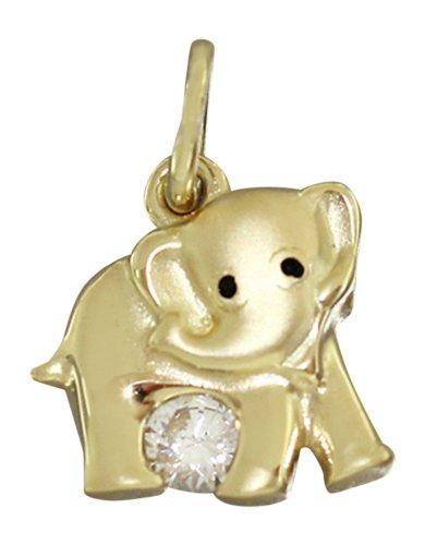Pequeño Elefant Hobra-colgante de oro 750 con Circonita Colgante oro Elefant