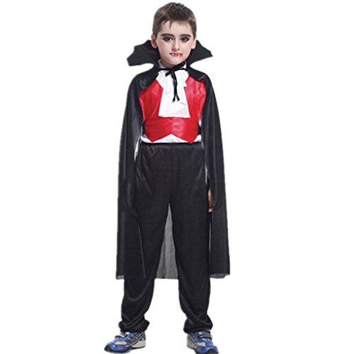 Masterein Kinder Jungs Scary Halloween Vampire Cosplay Kost¨¹m mit Top Hose Umhang Party (Für Cosplay Jungs Kostüme)