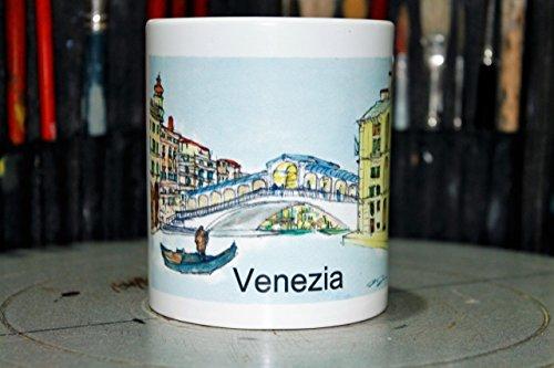 Venise tasses en céramique Venise Pont du Rialto fait avec une technique d'impression par sérigraphie, taille cm 8x9,4cm -Dessin originale créée par l'artiste Davide Pacini, Toscane, Lucca.