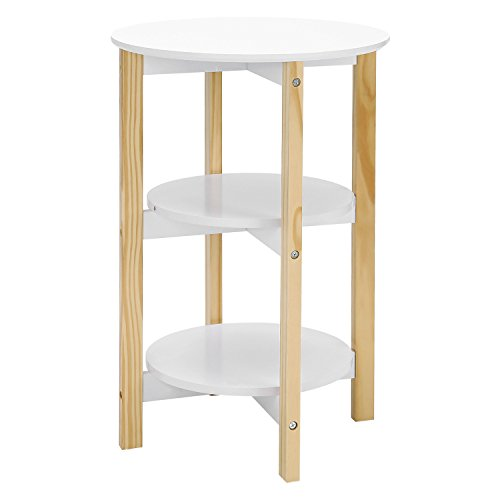 SONGMICS Table basse Table pour cafétéria Table de chevet Style scandinave Etagère de rangement Moderne Minimaliste Salon Chambre Couleur blanche LET05WN