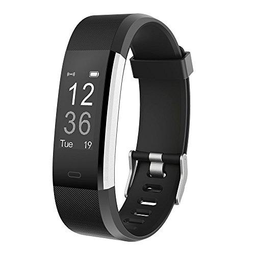 Fitness Tracker ID115 Plus HR, Smartband mit Pulsmesser Schlafüberwachung intelligente Erinnerung Sport Armband 0.96 Zoll Touchscreen für Android 4.4 + / iOS 7.1 + Handy / Bluetooth 4.0 Geräte (Schwarz)
