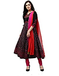 Rain and Rainbow Women's Anarkali Cotton Salwar Suit (Pack of 3)