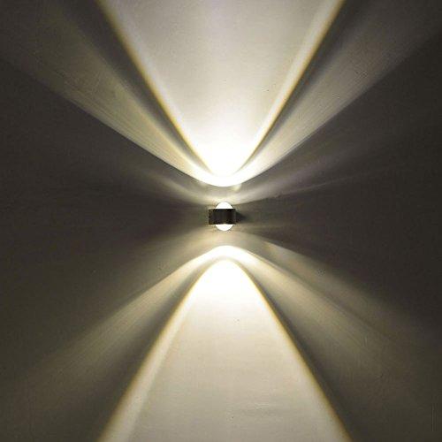 INNORI 2 Stück 2 W Moderne gelben Licht-LED-Wand-Licht Doppel-Faced Kristalllichter (Wand-bad-licht Nickel)