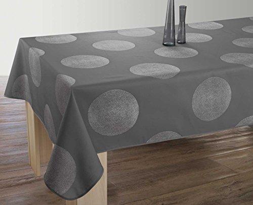 Nappe anti-taches Cercles gris foncé - taille : Rectangle 150x350 cm