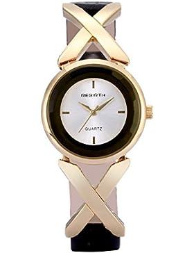 Souarts Damen Vergoldet Farbe Einfach Design Armbanduhr Quartzuhr Analog mit Batterie