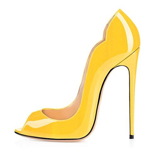 Soireelady Damen Open Toe Pumps,12cm Absatz Gelb Schuhe,Sommer High Heels Damen EU38