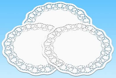 amscan-551144-6rund Häkeldeckchen Spitzendeckchen Deckchen Tischdecke Untersetzer aus Spitze aus Papier-Durchmesser 36cm-weiß