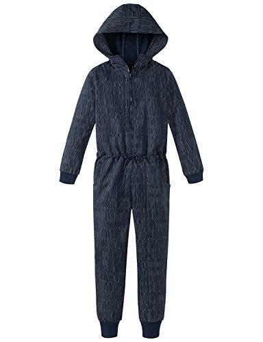 Schiesser Jungen Einteiliger Schlafanzug Mix & Relax Jumpsuit, Blau (Nachtblau 804), 164 (Herstellergröße: M)