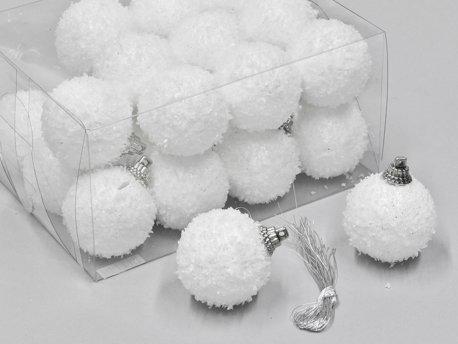 Weihnachtskugeln Schneeball weiss mit Schnee beschneit Schneekugeln (4cm)