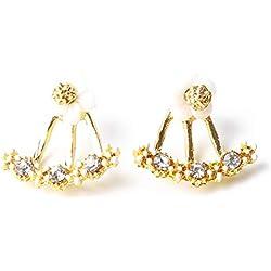 Ogquaton Premium Quality Multi Colors Small Daisy Flower Hanging Earrings Accesorios para Mujeres y niñas Party Jewelry Gift de cumpleaños, Color Dorado