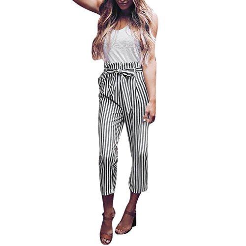 NINGSANJIN Damen-beiläufige gestreifte hohe Taillen-Hosen-elastische Taillen-beiläufige Hosen (2XL, Weiß)