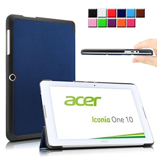 Infiland Acer Iconia One 10 B3-A20 Funda Case-Ultra Delgada Tri-Fold Smart Case Cover PU Cuero Smart Cascara con Soporte para Acer ICONIA ONE 10 B3-A20-K1Q6 - tableta - Android 5.1 - 32 GB - (10,1 pulgadas)(Azul Oscuro)
