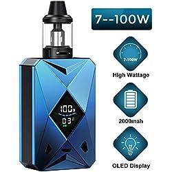 Cigarettes Électroniques,Cigarette Electronique Kit Complet,Goblin Kit 100w, E Cigs, Batterie rechargeable 2000mah, Kit Vape énorme avec écran de visualisation, No E Liquid, No Nicotine (Bleu)