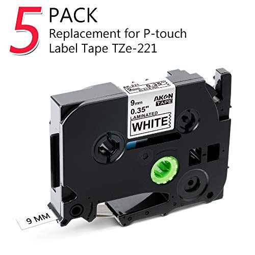 Compatible Brother P-touch TZe TZ Nastro Cassette Etichette 9mm, Label Tape TZe-221 TZ-221 Nero su Bianco - per Brother Ptouch Etichettatrice PT 1000 1280 1080 H105 D400 Cube D210, 5 Pack