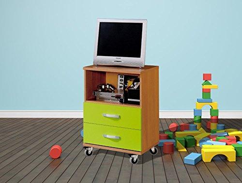 Mesita sinfonier infantil con ruedas 55x78 cm. color cerezo con pistacho, mesa niños