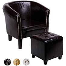 CCLIFE Sillón de Chesterfield con taburete Sofá Chesterfield Diseño clásico con alta calidad para sala , comedor, oficina, 2 años de garantía, 3 colores, Color:Brown