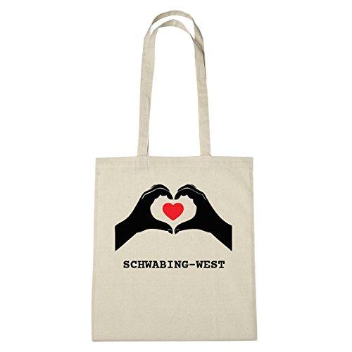 JOllify Schwabing-West di cotone felpato B189 schwarz: New York, London, Paris, Tokyo natur: Hände Herz