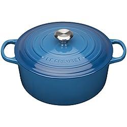 Le Creuset Signature Cast Iron Round Casserole, 24 cm - Marseille Blue