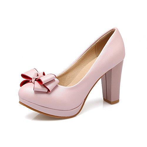 AllhqFashion Damen Rund Zehe Ziehen Auf Pu Leder Rein Hoher Absatz Pumps Schuhe Pink