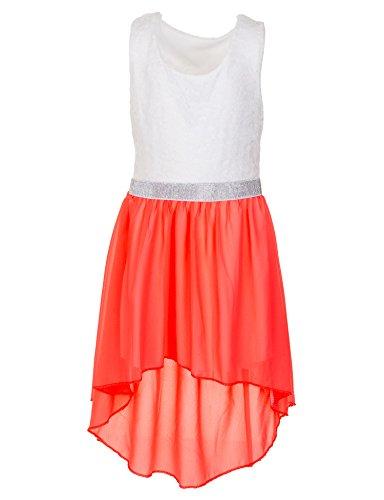 Fashionteam24 Mädchen festliches Sommerkleid in vielen Farben für Hochzeit Party und Freizeit M361sior Silber Orange Gr. 10/128/134