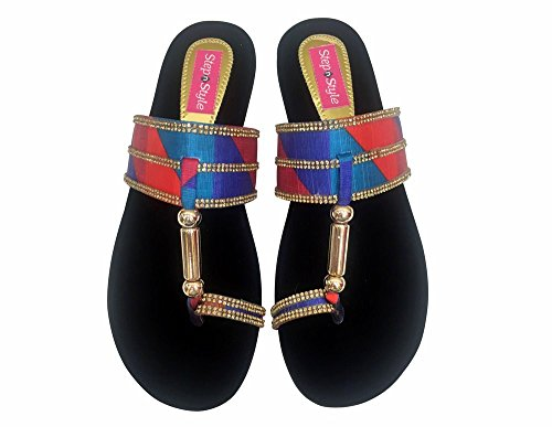 Étape N Style Femmes indien kolhapuri Sandales salwar kameej jutti Pantoufles Plat Khussa multicouleur - Multicolore