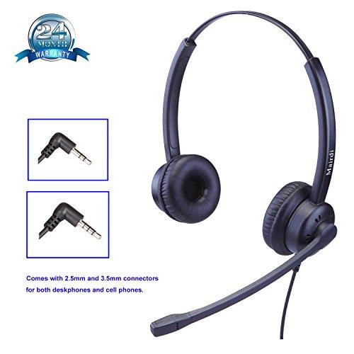 2,5mm Telefon Headset Kopfhörer 2 5 mm klinke Call Center Headset mit Noise Cancelling Mikrofon für Cisco Polycom Grandstream Panasonic Plus 3,5mm Klinke für Handy iPhone Samsung (Plantronics Blackberry)