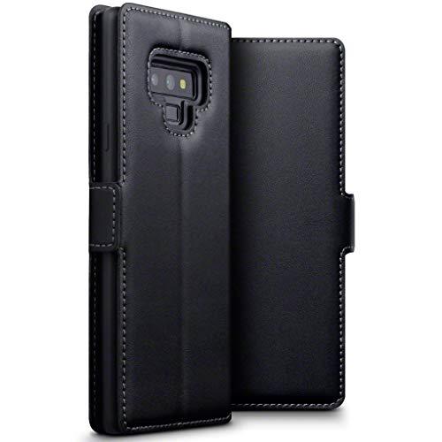 TERRAPIN Cover Samsung Note 9, Snello Vera Pelle della Cassa del Raccoglitore con Funzione di Appoggio per Samsung Galaxy Note 9 Custodia Pelle, Colore: Nero