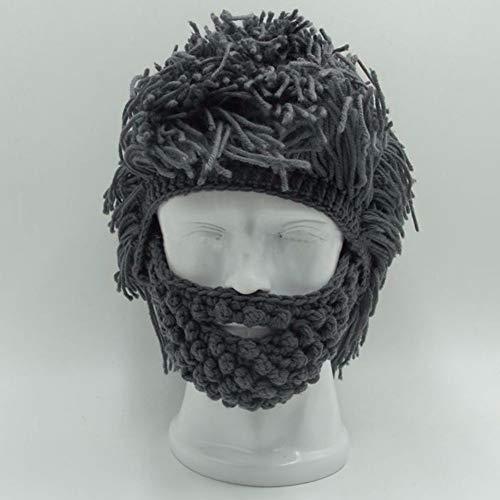 GAOXUQIANG Handgemachte gestrickte Männer Winter häkeln Schnurrbart Hut Bart Mützen Gesicht Quaste Fahrrad Maske Ski warme Mütze lustige Hut Geschenk,Gray,L