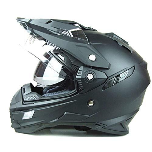 Xing zhe Casco integrale moto doppio visore con visiera parasole doppio obiettivo ABS (nero) Elmetto di sicurezza (Size : M)