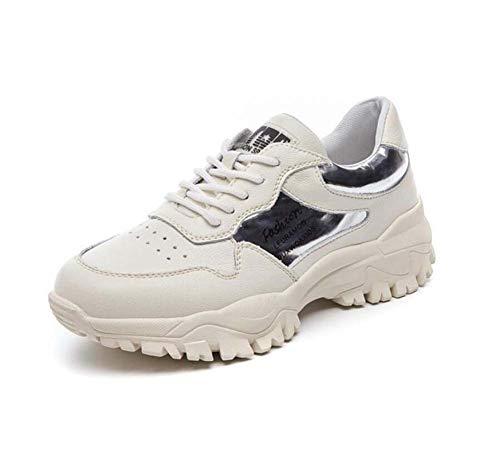 Mamrar Les Femmes Pompe épaisse Chaussures de Sport Bas Comforty Respirant Shoelace Couleur Correspondant Snekers EU Taille 35-40