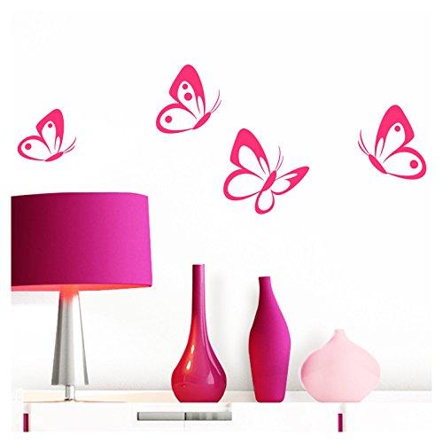 Grandora W697 Wandtattoo 4er Set Schmetterlinge I pink I Baby Kinderzimmer selbstklebend Wand Aufkleber Wandaufkleber Wandsticker