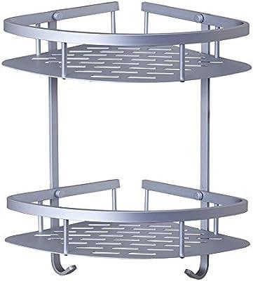 Estanteríaesquinera para ducha, Organizadorde baño con dos repisas en aleación de aluminio