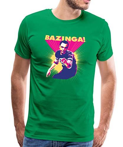 Spreadshirt The Big Bang Theory Sheldon Bazinga Männer Premium T-Shirt, L, Kelly Green -