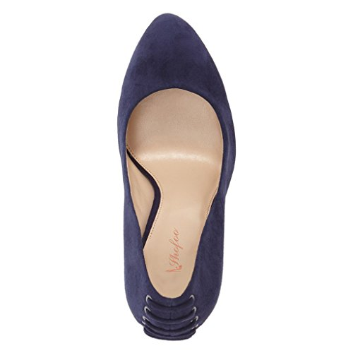 SHOFOO - Femmes - Stiletto - Cuir de daim synthétique - Marron ou Bleu ou Violet - Talon épais - Bout rond fermé Violet