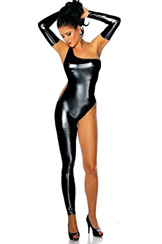 ZOYOL Frauen Leder Kleidung sexy heiße weibliche Overall Nachtclubs mit einem Bein Pole Dance Kleidung Cosplay Kostüm , black , m
