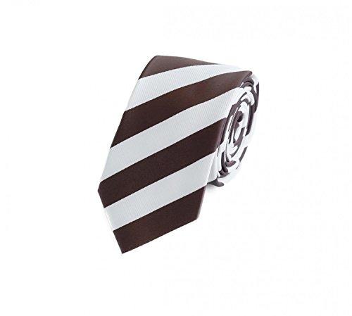 Rosa, Braun Gestreifte Krawatte (Fabio Farini Gestreifte Krawatte 6cm Breite in verschiedenen Farben für Büro Verein Hochzeit Weihnachten weiß braun)