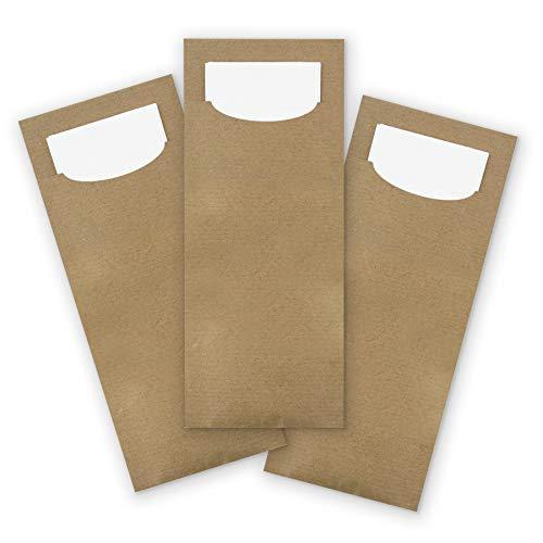 sche aus Kraftpapier braun mit weißer Serviette Besteckserviette ()
