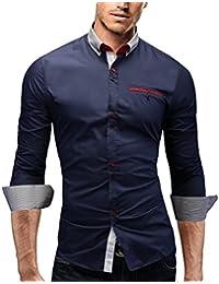MERISH Slim Fit chemise homme, longue chemise chic et décontracté Tri-color avec Poche poitrine adapté aux affaires, de loisirs et d'événements festifs, Modell 95