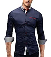 Merish Men Shirt, Slim-fit, different colors, coloured highlighted button placket,chest pocket and Shirt collar, fully in line with the trend, sizes S-XXL 95 DarkBlue L