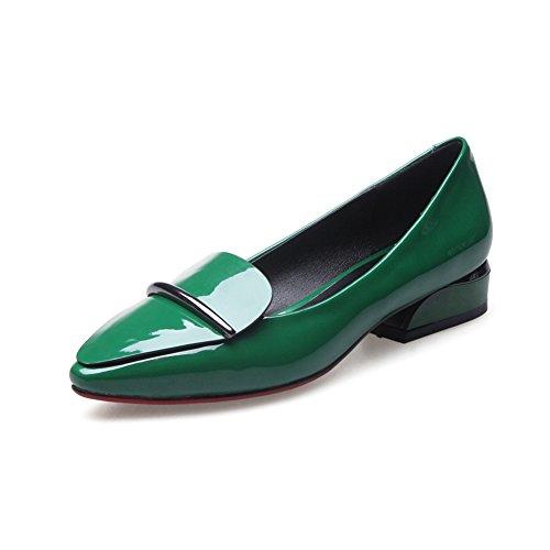 Primavera Scarpe Donna/scarpe basse aguzze superficiale/scarpe/Semplice versatile patent leather chunky tacchi scarpe C