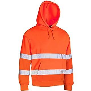 absab ltd Men's Hi Vis Visibility Safety Work Sweatshirt Matching Hood with drawcords New (Large, Orange)