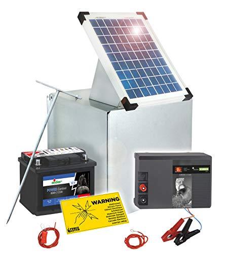 Eider Solar Elektrozaun: 12 Volt Weidezaungerät mit 10 Watt Solar, 80 Ah Akku & Metall Transportbox - Akku Wird mit Säure befüllt geliefert - Hütesichere Stromversorgung mit 12 V Gerät & Zubehör