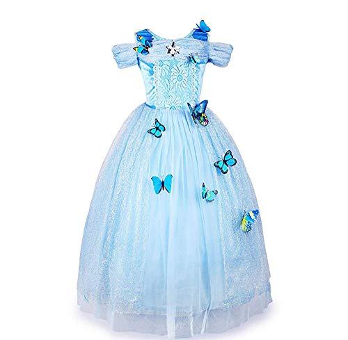 Styhatbag Halloween Kostüm Cosplay Kleid Prinzessin Kostüm Schmetterling Mädchen Kleid Middle und Kleine Kinder (3~8 Jahre alt, 100~140 cm) Schicke Party (Größe : XL(130-140cm))
