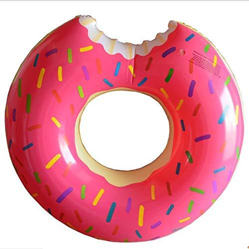Donut Schwimmring mit Biss Schwimmreifen aufblasbar für Erwachsene 107cm groß Pool (Rosa) -