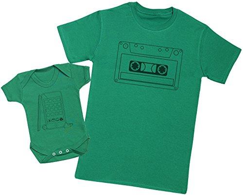 Zarlivia Clothing Cassette Tape and Phone - Ensemble Père Bébé Cadeau - Hommes T-Shirt & Body bébé - Vert - S & 0-3 Mois